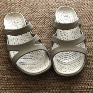Taupe crocs strappy slides sandals